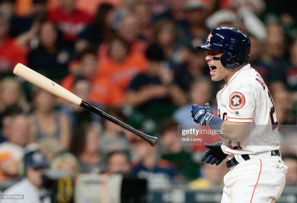 Jose Altuve #27 of the Houston Astros is hit by a pitch in the ninth inning by ]Brandon Kintzler #27 of the Minnesota Twins at Minute Maid Park on July 15, 2017 in Houston, Texas.