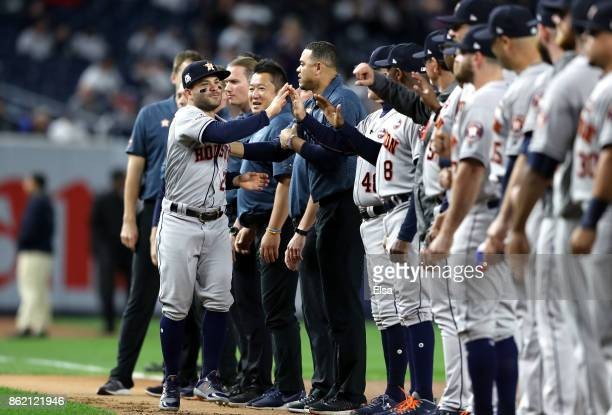 Jose Altuve of the Houston Astros is introduced before Game Three of the American League Championship Series against the New York Yankees at Yankee...