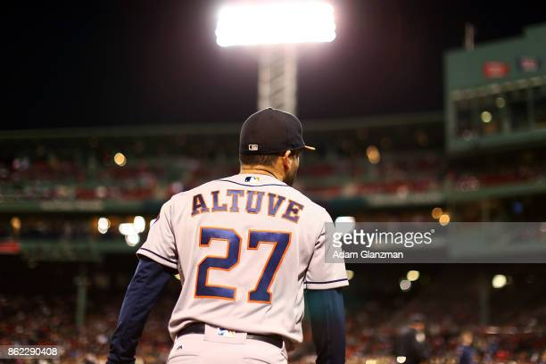Jose Altuve of the Houston Astros looks on during a game against the Boston Red Sox at Fenway Park on September 29 2017 in Boston Massachusetts
