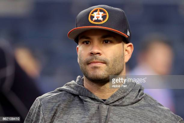 Jose Altuve of the Houston Astros looks on during batting practice before Game Three of the American League Championship Series against the New York...