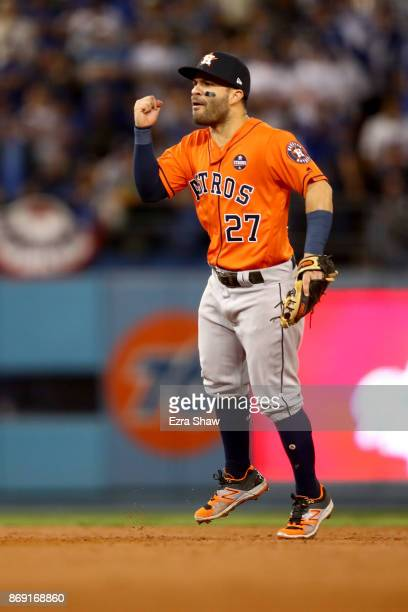 Jose Altuve of the Houston Astros reacts during the second inning against the Los Angeles Dodgers in game seven of the 2017 World Series at Dodger...