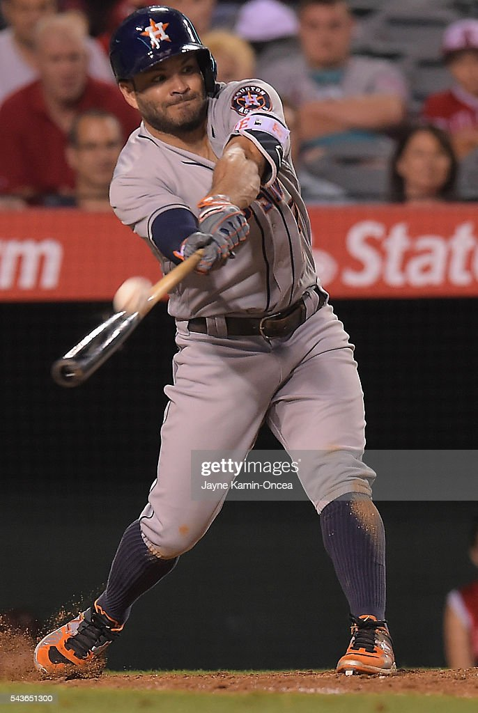 <a gi-track='captionPersonalityLinkClicked' href=/galleries/search?phrase=Jose+Altuve&family=editorial&specificpeople=7934195 ng-click='$event.stopPropagation()'>Jose Altuve</a> #27 of the Houston Astros singles during the game against the Los Angeles Angels at Angel Stadium of Anaheim on June 27, 2016 in Anaheim, California.
