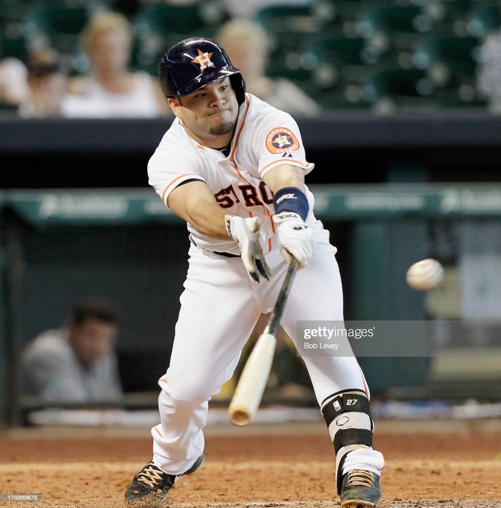 <a gi-track='captionPersonalityLinkClicked' href=/galleries/search?phrase=Jose+Altuve&family=editorial&specificpeople=7934195 ng-click='$event.stopPropagation()'>Jose Altuve</a> #27 of the Houston Astros singles in the eighth inning against the Oakland Athletics at Minute Maid Park on July 24, 2013 in Houston, Texas.