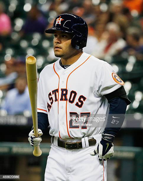 Jose Altuve of the Houston Astros steps to the plate during the first inning against the Cleveland Indians during their game at Minute Maid Park on...