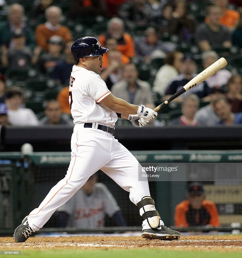 Jose Altuve #27 of the Houston Astros strikes out in the ninth inning against the Detroit Tigers at Minute Maid Park on May 2, 2013 in Houston, Texas.