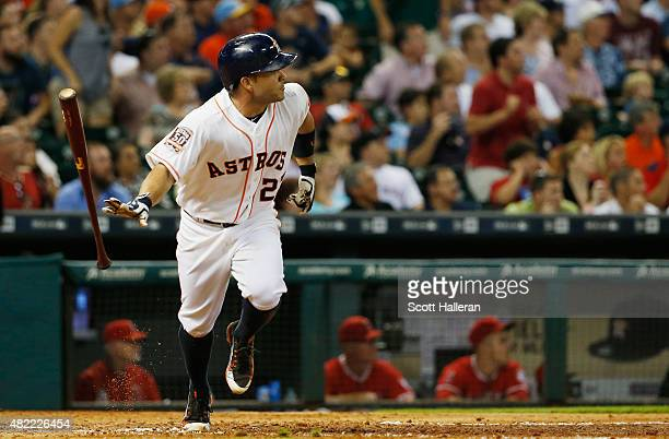 Jose Altuve of the Houston Astros watches his tworun double in the sixth inning of their game against the Los Angeles Angels of Anaheim at Minute...
