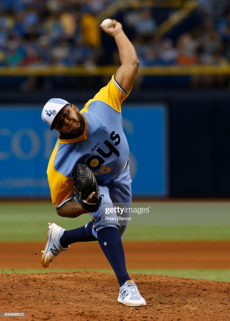 Jose Alvarado #46 of the Tampa Bay Rays pitches during the eighth inning of a game against the Cleveland Indians on August 12, 2017 at Tropicana Field in St. Petersburg, Florida.