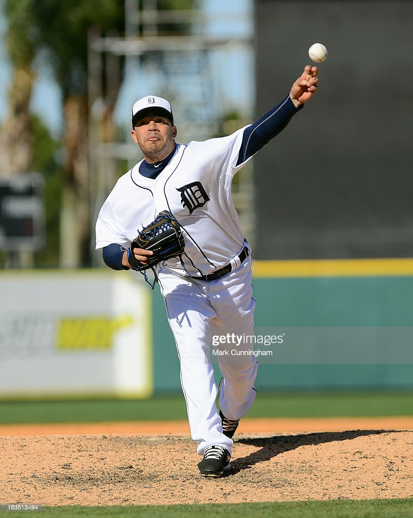 Jose Alvarez #71 of the Detroit Tigers pitches during the spring training game against the Toronto Blue Jays at Joker Marchant Stadium on March 6, 2013 in Lakeland, Florida. The Tigers defeated the Blue Jays 4-1.