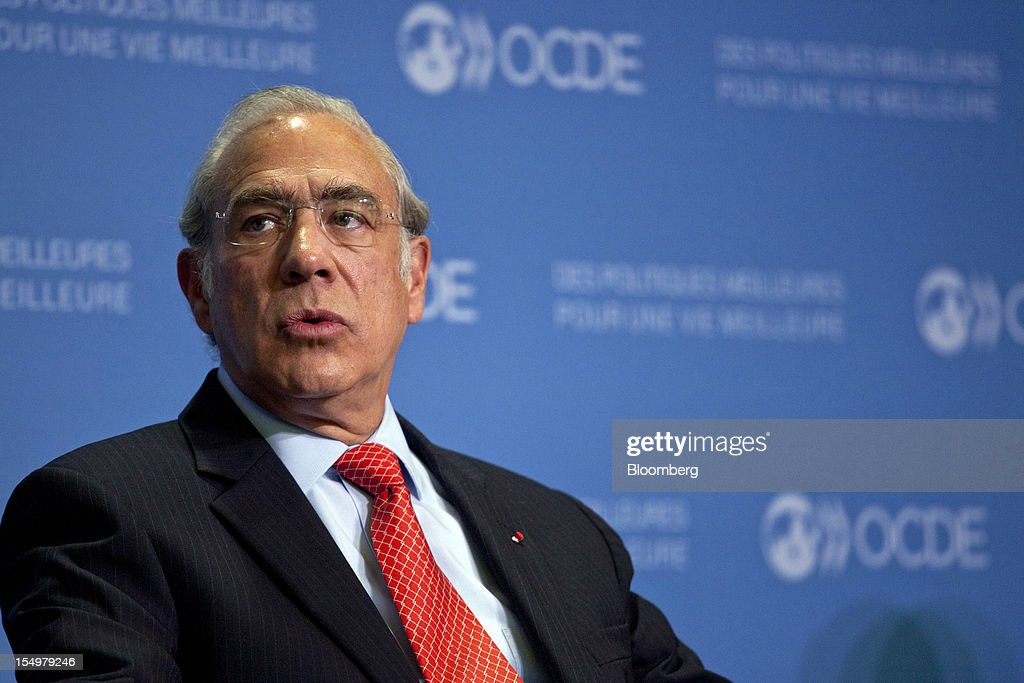 Jose Angel Gurria, secretary general of the Organization for Economic Cooperation and Development (OECD), speaks during a news conference following a meeting hosted by the OECD in Paris, France, on Monday, Oct. 29, 2012. French President Francois Hollande said he wants the euro group of finance ministers to find a 'durable' solution to Greece's debt problems at their November meeting. Photographer: Balint Porneczi/Bloomberg via Getty Images