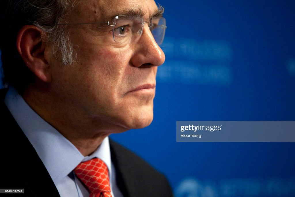 Jose Angel Gurria, secretary general of the Organization for Economic Cooperation and Development (OECD), pauses during a news conference following a meeting hosted by the OECD in Paris, France, on Monday, Oct. 29, 2012. French President Francois Hollande said he wants the euro group of finance ministers to find a 'durable' solution to Greece's debt problems at their November meeting. Photographer: Balint Porneczi/Bloomberg via Getty Images
