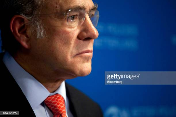 Jose Angel Gurria secretary general of the Organization for Economic Cooperation and Development pauses during a news conference following a meeting...