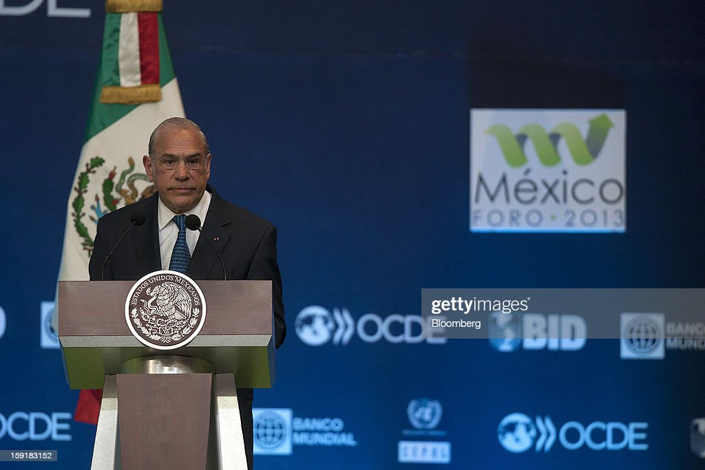 Jose Angel Gurria, secretary-general of the Organization for Economic Cooperation and Development (OECD), speaks at the Mexico Forum 2013 in Mexico City, Mexico, on Wednesday, Jan. 9, 2013. Gurria said Mexico should remove value-added tax (VAT) exemptions from food and medicine. Photographer: Susana Gonzalez/Bloomberg via Getty Images