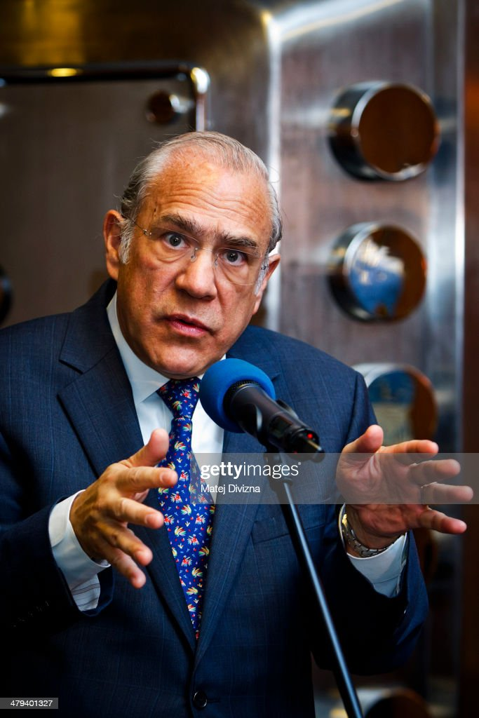 Jose Angel Gurria, secretary-general of the Organization for Economic Cooperation and Development (OECD), attends press conference during his visit on March 18, 2014 in Prague, Czech Republic. Gurria is visiting Prague to present OECD's Economic Survey of Czech Republic 2014.