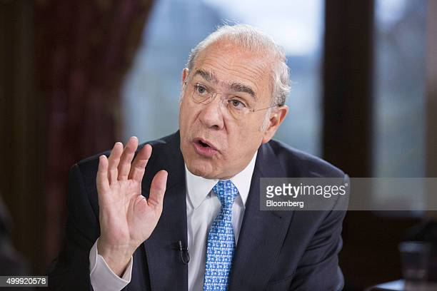 Jose Angel Gurria secretarygeneral of the Organization for Economic Cooperation and Development speaks during a Bloomberg Television interview at the...