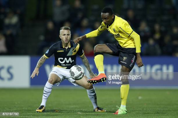 Jose Angelino of NAC Breda Kelechi Nwakali of VVV Venlo during the Dutch Eredivisie match between VVV Venlo and NAC Breda at Seacon stadium De Koel...