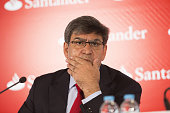Jose Antonio Alvarez chief executive officer of Banco Santander SA pauses during a news conference at the bank's headquarters in Boadilla del Monte...