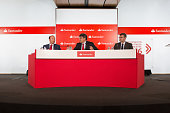 Jose Antonio Alvarez chief executive officer of Banco Santander SA center speaks as Juan Manuel Cendolla communications director at Banco Santander...