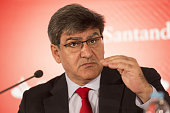 Jose Antonio Alvarez chief executive officer of Banco Santander SA gestures during a news conference at the bank's headquarters in Boadilla del Monte...