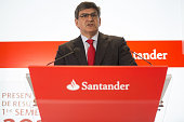 Jose Antonio Alvarez chief executive officer of Banco Santander SA speaks during a news conference at the bank's headquarters in Boadilla del Monte...
