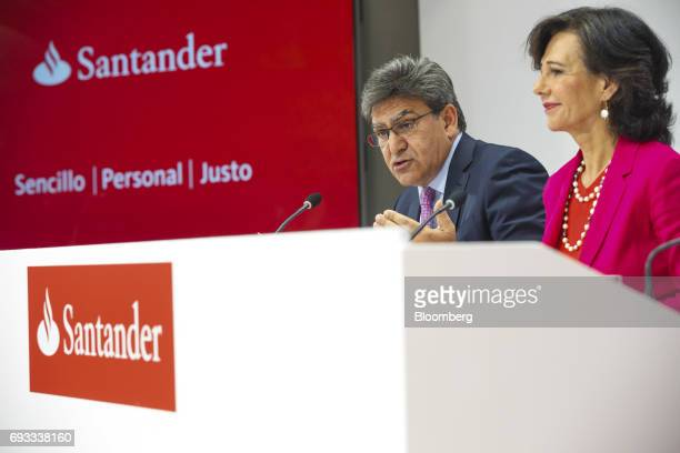 Jose Antonio Alvarez chief executive officer of Banco Santander SA left speaks as Ana Botin chairman of Banco Santander SA looks on during a news...