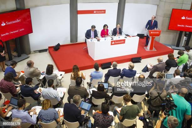 Jose Antonio Alvarez chief executive officer of Banco Santander SA left Ana Botin chairman of Banco Santander SA second left and Rami Aboukhair head...