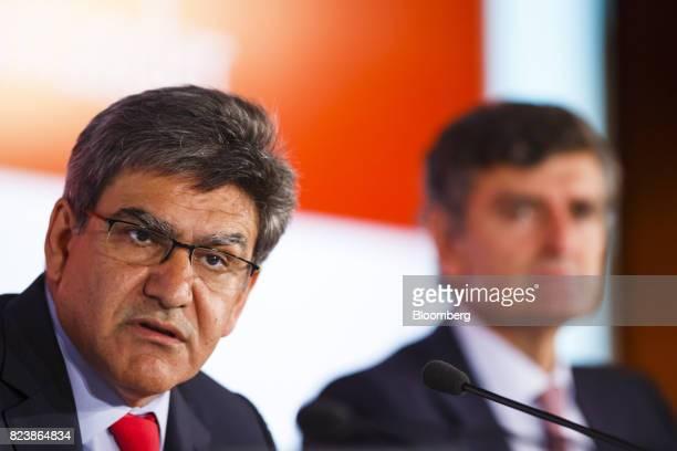 Jose Antonio Alvarez chief executive officer of Banco Santander SA speaks as Jose Antonio Garcia Cantera chief financial officer of Banco Santander...