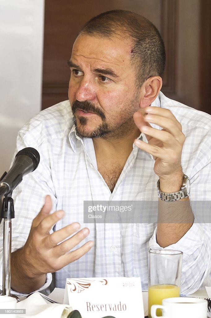 Jose Antonio Elo talks during a press conference to present the Colima Film Festival 2013 at Del Bosque Restauran ton Septmeber 09, 2013 in Mexico City, Mexico.