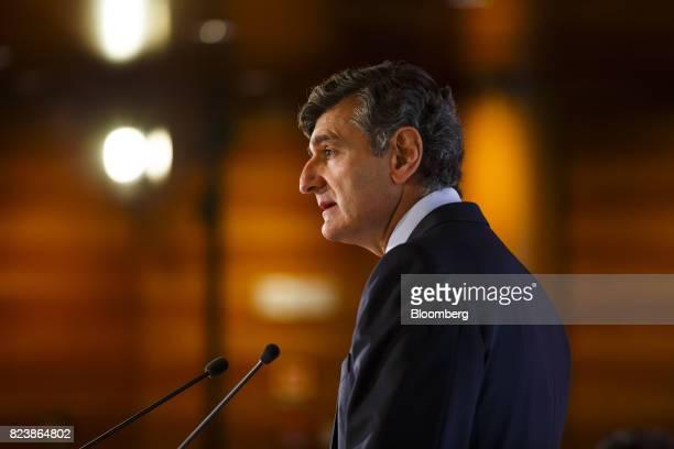 Jose Antonio Garcia Cantera chief financial officer of Banco Santander SA speaks during a second quarter earnings news conference in Boadilla del...
