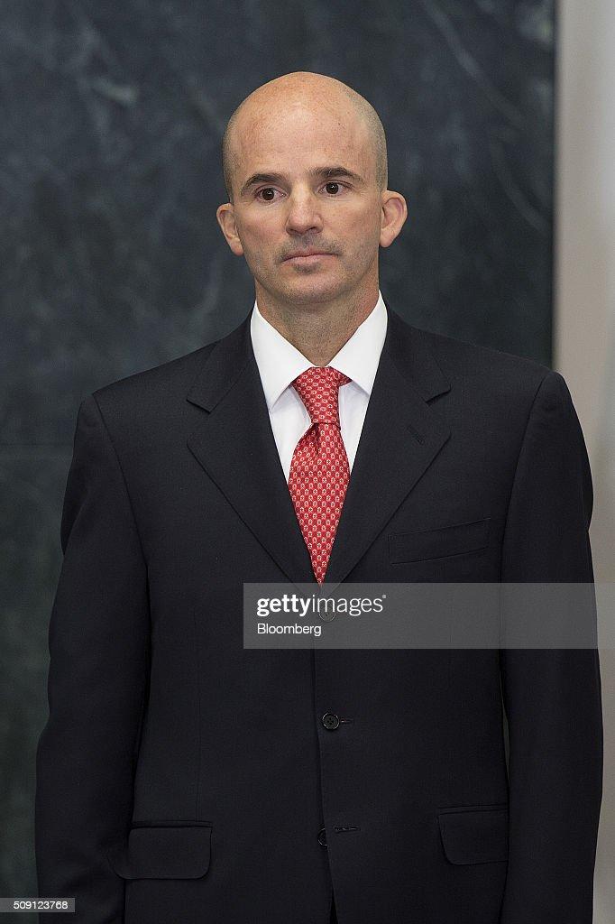 Jose Antonio Gonzalez Anaya newly appointed chief executive officer of Petroleos Mexicanos listens as Enrique Pena Nieto Mexico's president not...