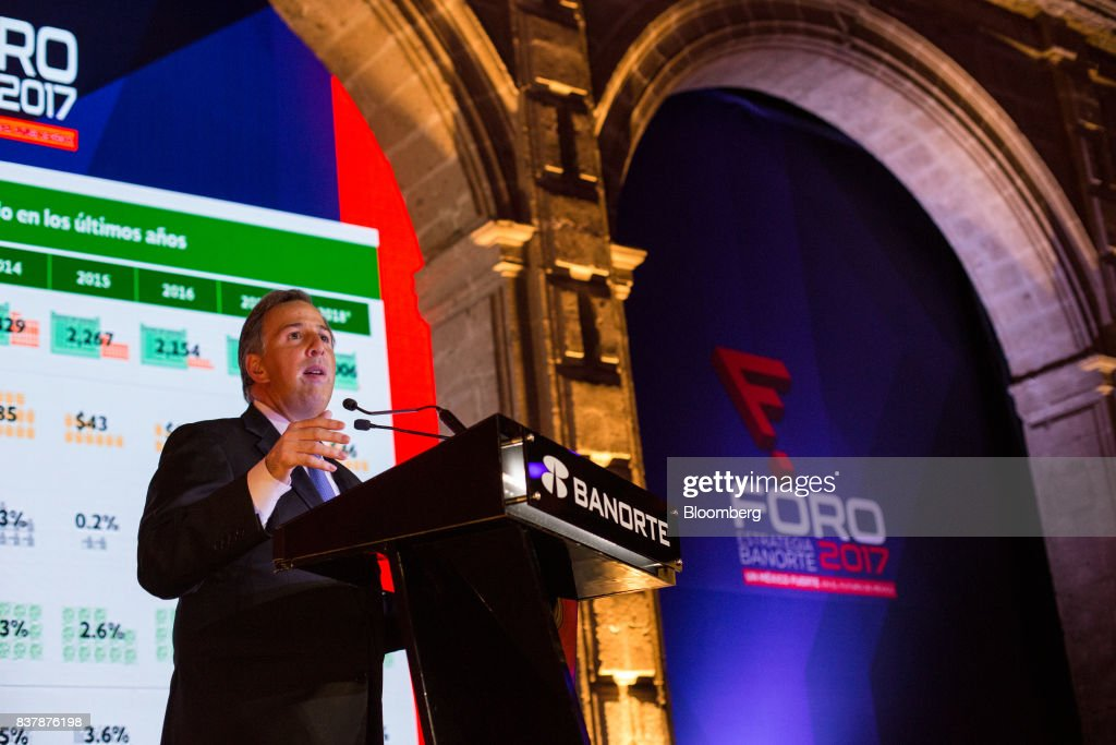 Jose Antonio Meade, Mexico's finance minister, speaks during a reception following the Banorte Strategy Annual forum in Mexico City, Mexico, on Tuesday, Aug. 22, 2017. The sixth annual meeting was titled, 'A Strong Mexico, In The Future Of Mexico.' Photographer: Brett Gundlock/Bloomberg via Getty Images