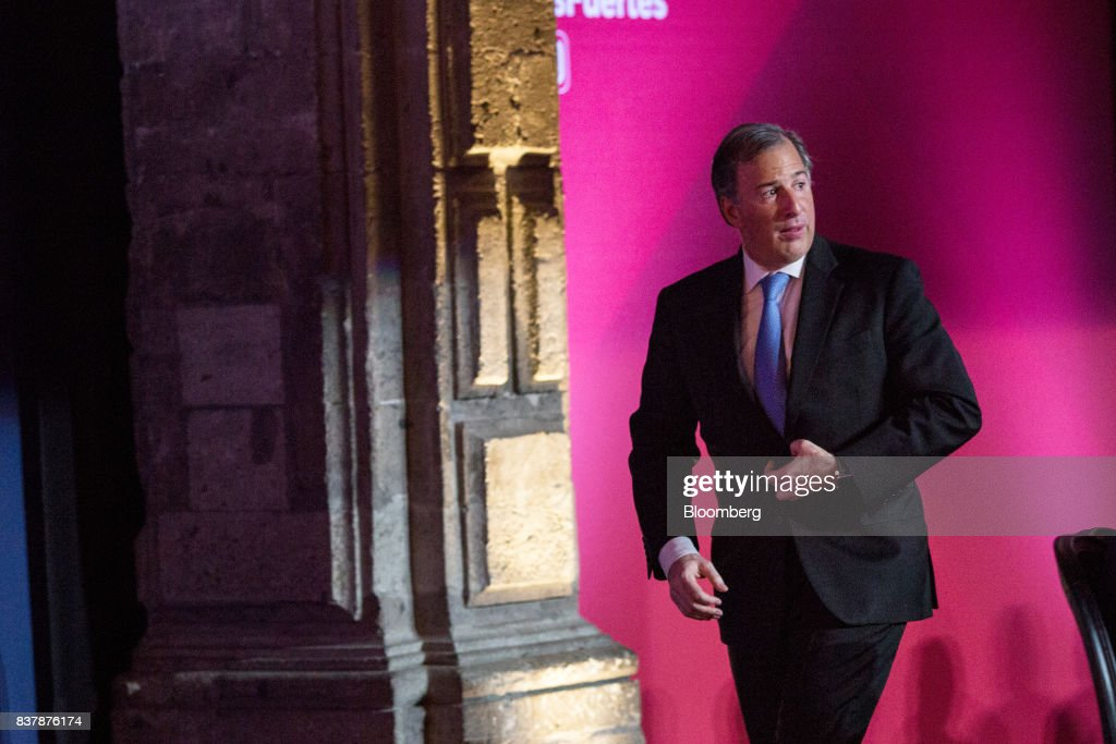 Jose Antonio Meade, Mexico's finance minister, walks towards the podium to speak during a reception following the Banorte Strategy Annual forum in Mexico City, Mexico, on Tuesday, Aug. 22, 2017. The sixth annual meeting was titled, 'A Strong Mexico, In The Future Of Mexico.' Photographer: Brett Gundlock/Bloomberg via Getty Images