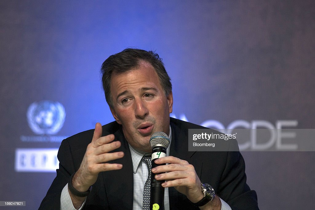 Jose Antonio Meade, Mexico's minister of foreign affairs, speaks at the Mexico Forum 2013 in Mexico City, Mexico, on Wednesday, Jan. 9, 2013. Meade was named foreign minister in December by new President Enrique Pena Nieto after having served as finance minister for former President Felipe Calderon. Photographer: Susana Gonzalez/Bloomberg via Getty Images