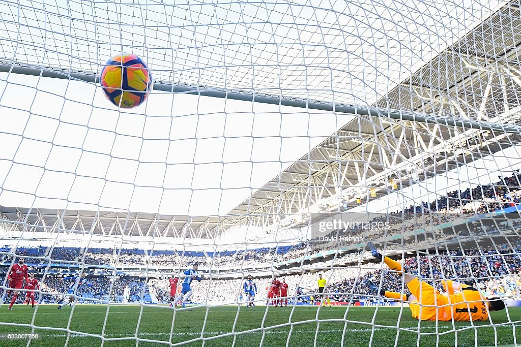 Jose Antonio Reyes of RCD Espanyol scores the opening goal from the penalty spot during the La Liga match between RCD Espanyol and Sevilla FC at Cornella-El Prat stadium on January 29, 2017 in Barcelona, Spain.