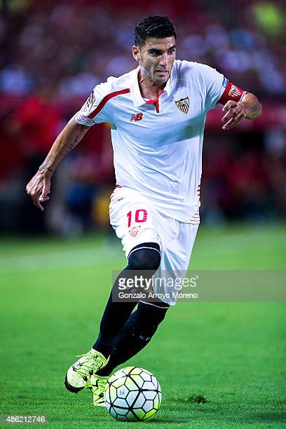 Jose Antonio Reyes of Sevilla FC controls the ball during the La Liga match between Sevilla FC and Club Atletico de Madrid at Estadio Ramon Sanchez...
