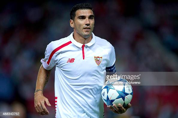 Jose Antonio Reyes of Sevilla FC holds the ball during the UEFA Champions League Group D match between Sevilla FC and VfL Borussia Monchengladbach at...