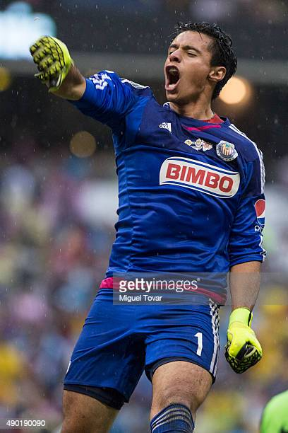 Jose Antonio Rodriguez goalkeeper of Chivas celebrates after defeating America in a 10th round match between America and Chivas as part of the...