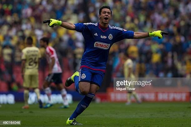 Jose Antonio Rodriguez goalkeeper of Chivas celebrates the first goal of his team during a 10th round match between America and Chivas as part of the...