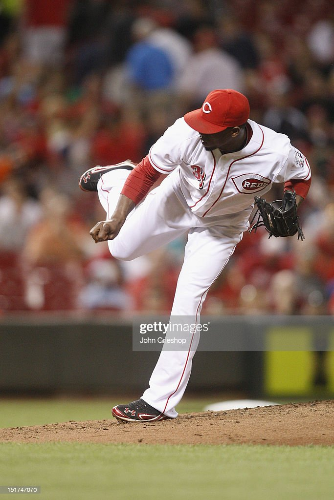 <a gi-track='captionPersonalityLinkClicked' href=/galleries/search?phrase=Jose+Arredondo&family=editorial&specificpeople=845816 ng-click='$event.stopPropagation()'>Jose Arredondo</a> #33 of the Cincinnati Reds delivers the pitch during the game against the Pittsburgh Pirates at Great American Ball Park on September 10, 2012 in Cincinnati, Ohio. The Reds defeated the Pirates 4-3 in 14 innings.