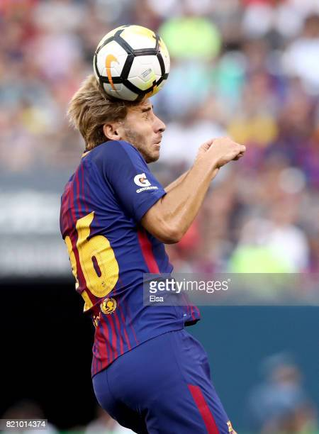 Jose Aurelio Suarez of Barcelona heads the ball in the first half against Juventus during the International Champions Cup 2017 on July 22 2017 at...