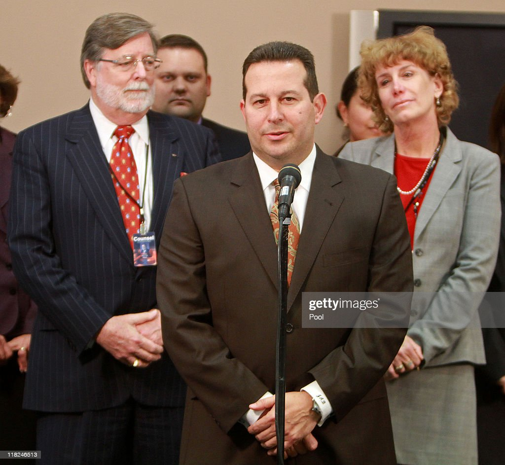 Jose Baez, lead defense counsel for <a gi-track='captionPersonalityLinkClicked' href=/galleries/search?phrase=Casey+Anthony&family=editorial&specificpeople=7188333 ng-click='$event.stopPropagation()'>Casey Anthony</a>, answers questions as co-counsel Cheney Mason (L) Dorothy Clay Sims looks on after his client was found not guilty in her 1st-degree murder trial at the Orange County Courthouse on July 5, 2011 in Orlando, Florida. <a gi-track='captionPersonalityLinkClicked' href=/galleries/search?phrase=Casey+Anthony&family=editorial&specificpeople=7188333 ng-click='$event.stopPropagation()'>Casey Anthony</a> had been accused of murdering her two-year-old daughter Caylee in 2008 and was found not guilty of manslaughter in the first degree.