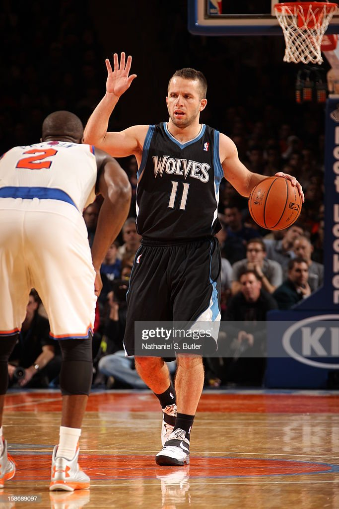 Jose Barea #11 of the Minnesota Timberwolves calls a play in a game played against the New York Knicks on December 23, 2012 at Madison Square Garden in New York City.