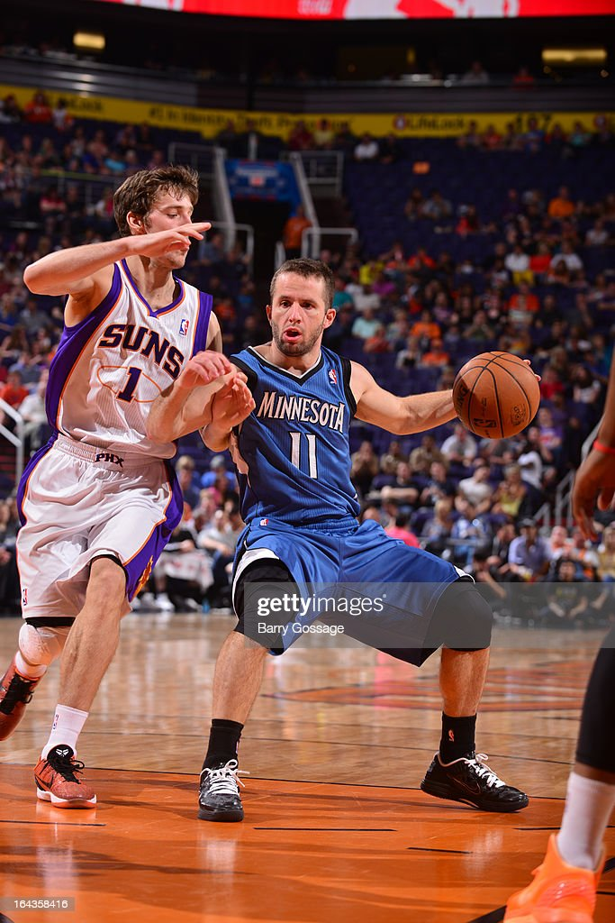 Jose Barea #11 of the Minnesota Timberwolves drives against Goran Dragic #1 of the Phoenix Suns on March 22, 2013 at U.S. Airways Center in Phoenix, Arizona.