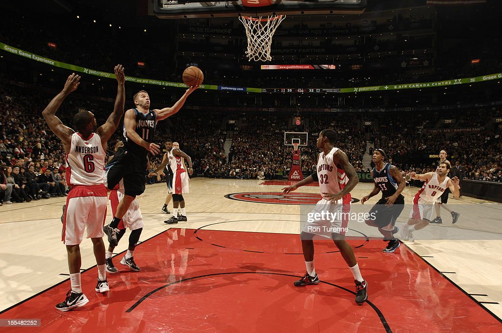 Jose Barea #11 of the Minnesota Timberwolves drives to the basket vs the Toronto Raptors during the game on November 4, 2012 at the Air Canada Centre in Toronto, Ontario, Canada.