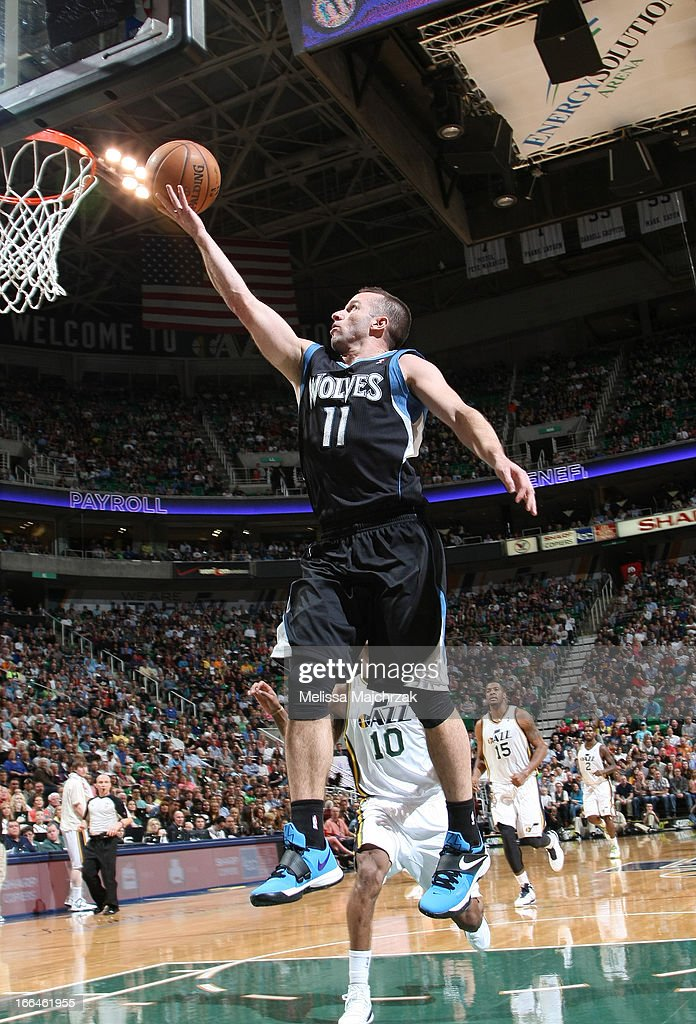 <a gi-track='captionPersonalityLinkClicked' href=/galleries/search?phrase=Jose+Barea&family=editorial&specificpeople=883866 ng-click='$event.stopPropagation()'>Jose Barea</a> #11 of the Minnesota Timberwolves shoots a layup against the Utah Jazz at Energy Solutions Arena on April 12, 2013 in Salt Lake City, Utah.
