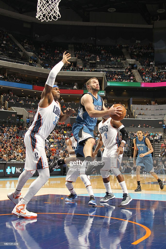 Jose Barea #11 of the Minnesota Timberwolves shoots against the Charlotte Bobcats at the Time Warner Cable Arena on January 26, 2013 in Charlotte, North Carolina.