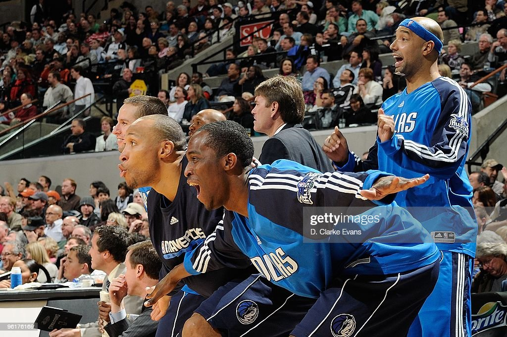 Jose Barea #11, Shawn Marion #0, Rodrique Beaubois #3 and Drew Gooden #90 of the Dallas Mavericks celebrate after a play from the bench during the game against the San Antonio Spurs on January 8, 2010 at the AT&T Center in San Antonio, Texas. The Mavericks won 112-103.