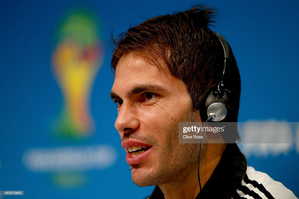 Jose Basanta of Argentina talks to the media during a press conference at Maracana on July 12, 2014 in Rio de Janeiro, Brazil.