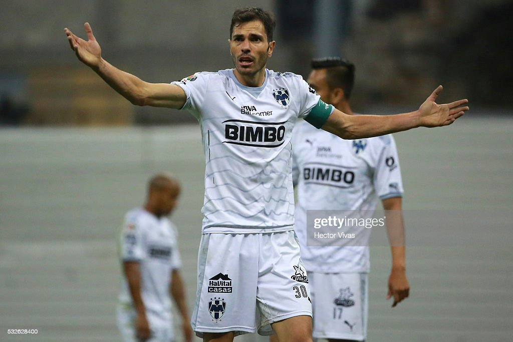 Jose Basanta of Monterrey reacts during the semi finals first leg match between America and Monterrey as part of the Clausura 2016 Liga MX at Azteca Stadium on May 18, 2016 in Mexico City, Mexico.