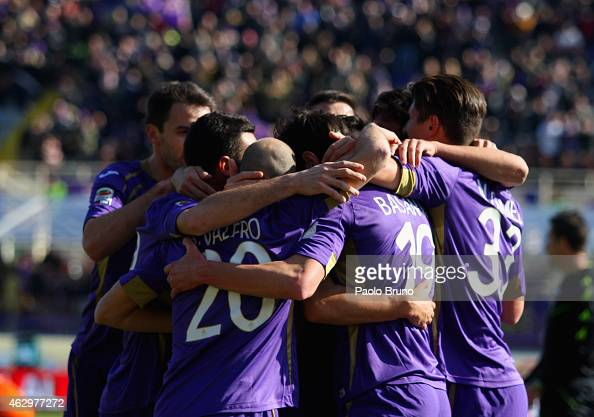 Jose' Basanta with his teammates of ACF Fiorentina celebrates after scoring the first team's goal during the Serie A match between ACF Fiorentina and...