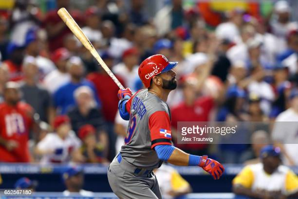 Jose Bautista of Team Dominican Republic singles in the 10th inning during Game 5 of Pool C of the 2017 World Baseball Classic against Team Colombia...